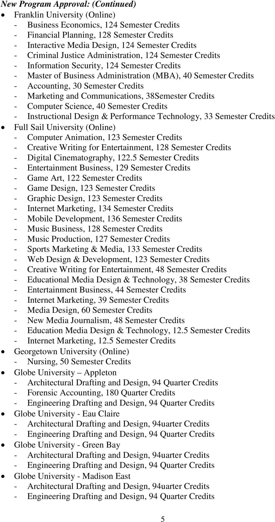 Marketing and Communications, 38Semester Credits - Computer Science, 40 Semester Credits - Instructional Design & Performance Technology, 33 Semester Credits Full Sail University (Online) - Computer