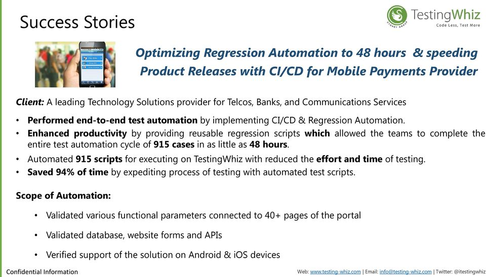 Enhanced productivity by providing reusable regression scripts which allowed the teams to complete the entire test automation cycle of 915 cases in as little as 48 hours.