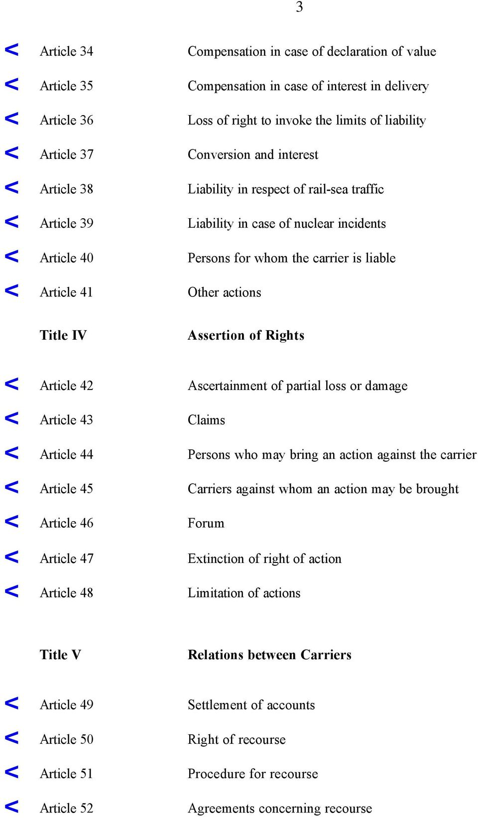 Other actions Title IV Assertion of Rights < Article 42 Ascertainment of partial loss or damage < Article 43 Claims < Article 44 Persons who may bring an action against the carrier < Article 45