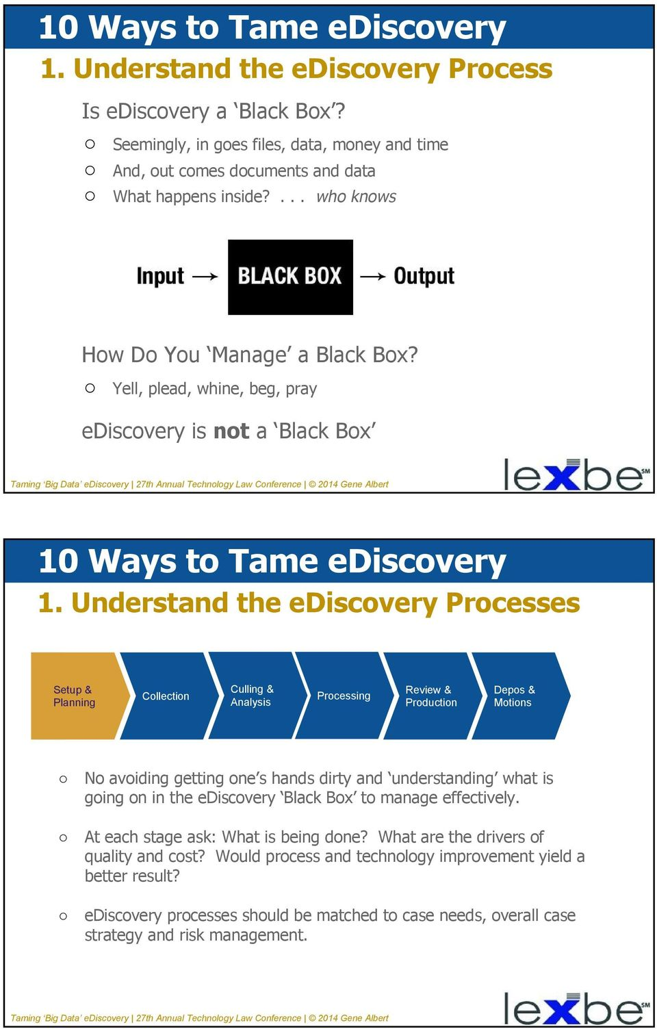 Understand the ediscovery Processes No avoiding getting one s hands dirty and understanding what is going on in the ediscovery Black Box to manage effectively.