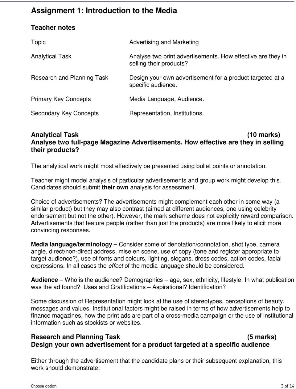 Analytical Task (10 marks) Analyse two full-page Magazine Advertisements. How effective are they in selling their products?
