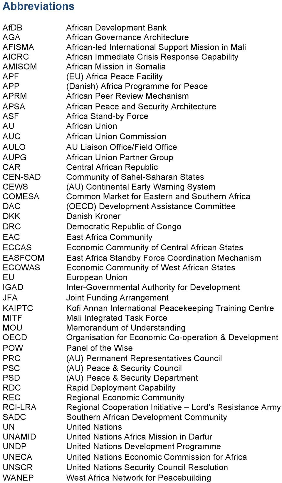 African Mission in Somalia (EU) Africa Peace Facility (Danish) Africa Programme for Peace African Peer Review Mechanism African Peace and Security Architecture Africa Stand-by Force African Union