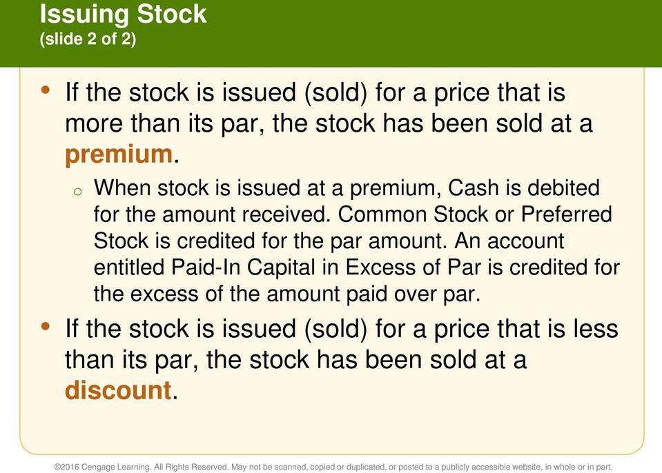 Common Stock or Preferred Stock is credited for the par amount.