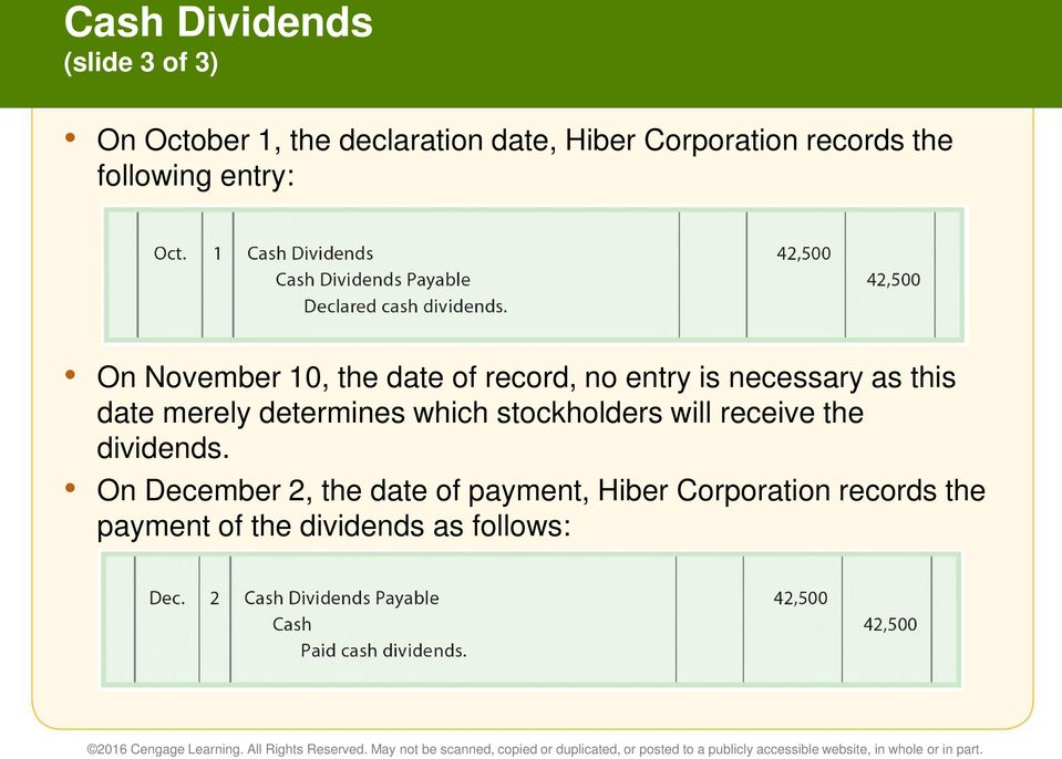 as this date merely determines which stockholders will receive the dividends.