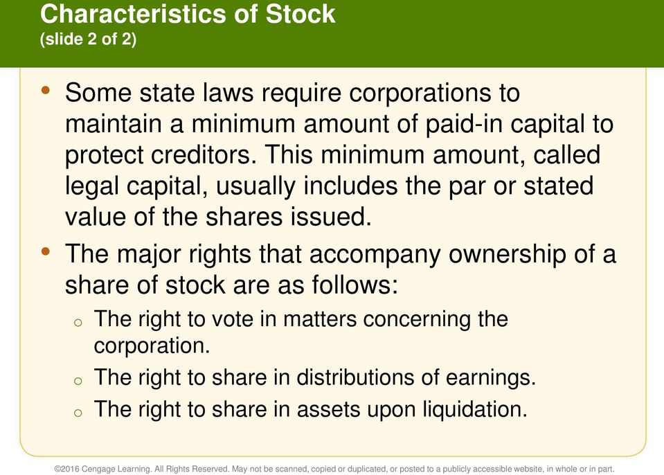 This minimum amount, called legal capital, usually includes the par or stated value of the shares issued.