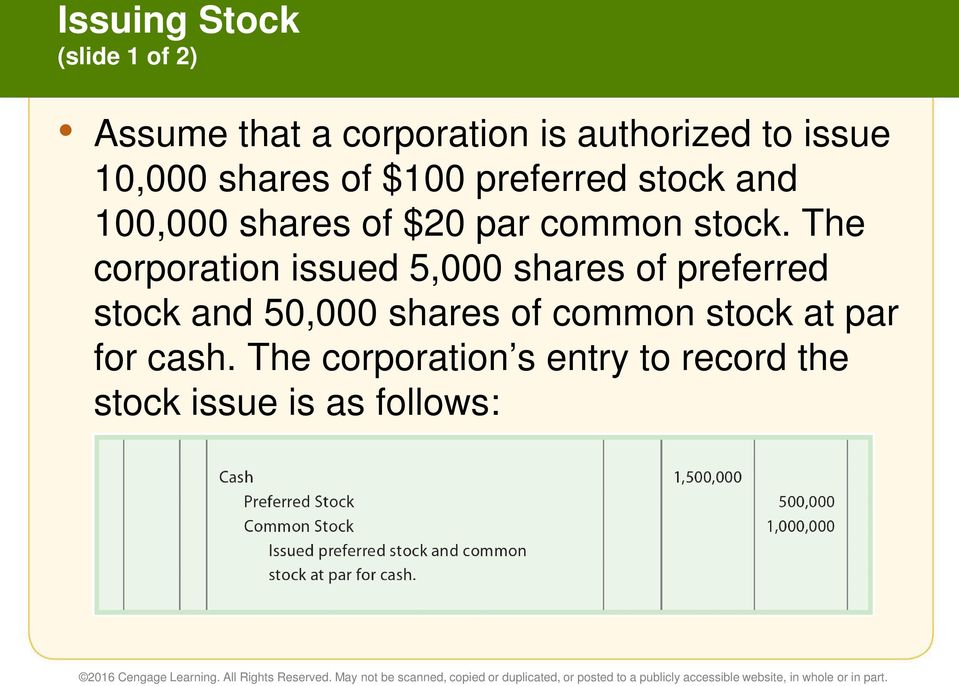 The corporation issued 5,000 shares of preferred stock and 50,000 shares of common