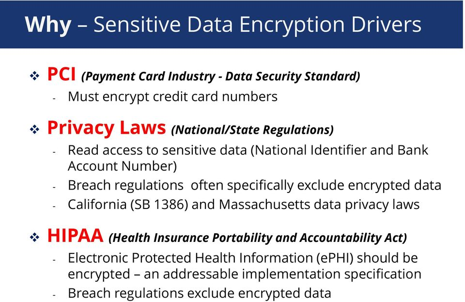 encrypted data - California (SB 1386) and Massachusetts data privacy laws HIPAA (Health Insurance Portability and Accountability Act) -
