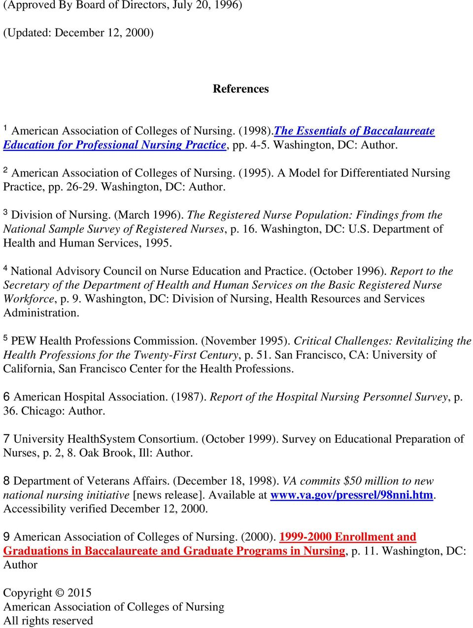 A Model for Differentiated Nursing Practice, pp. 26-29. Washington, DC: Author. 3 Division of Nursing. (March 1996).