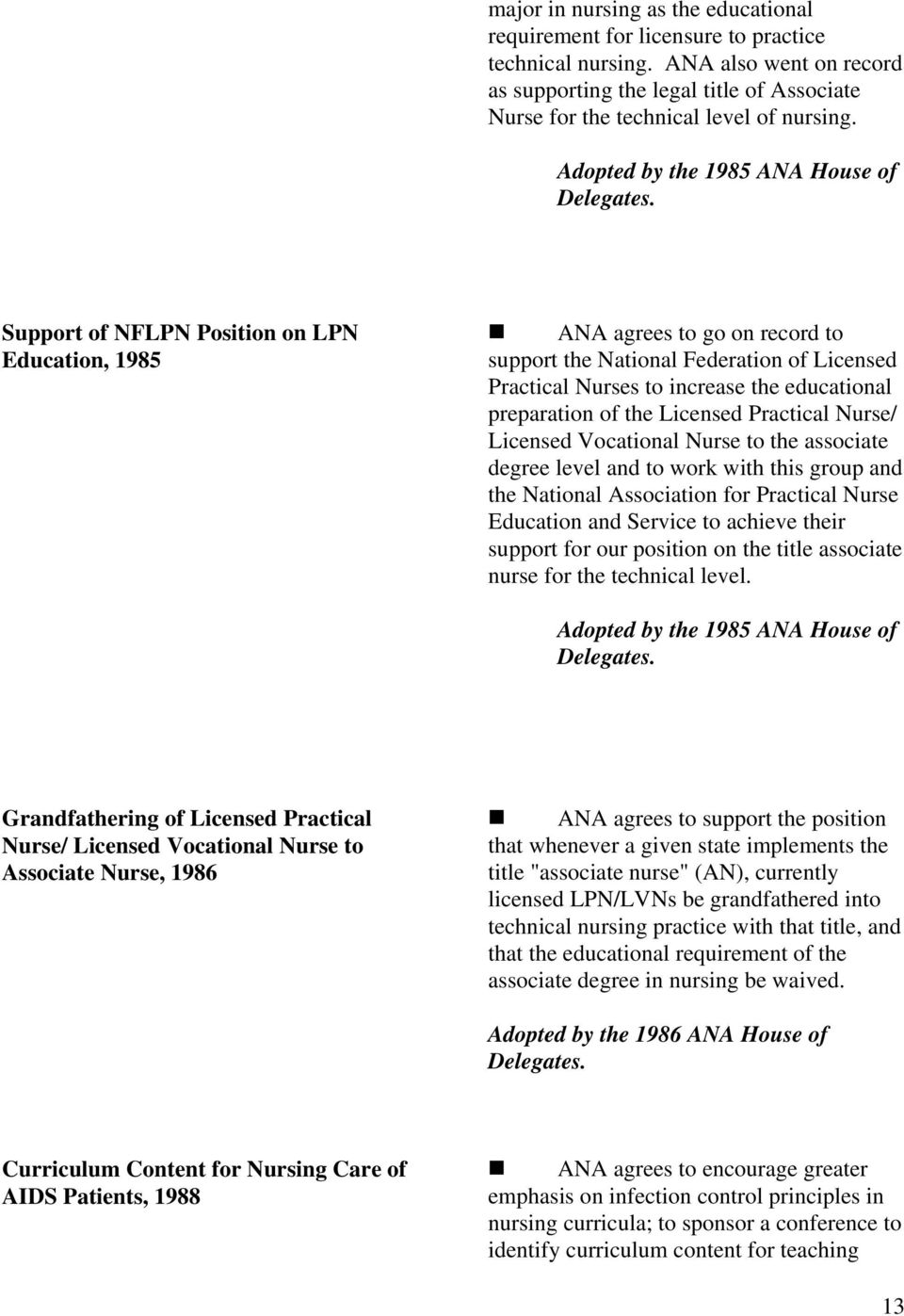 Adopted by the 1985 ANA House of Support of NFLPN Position on LPN Education, 1985 ANA agrees to go on record to support the National Federation of Licensed Practical Nurses to increase the