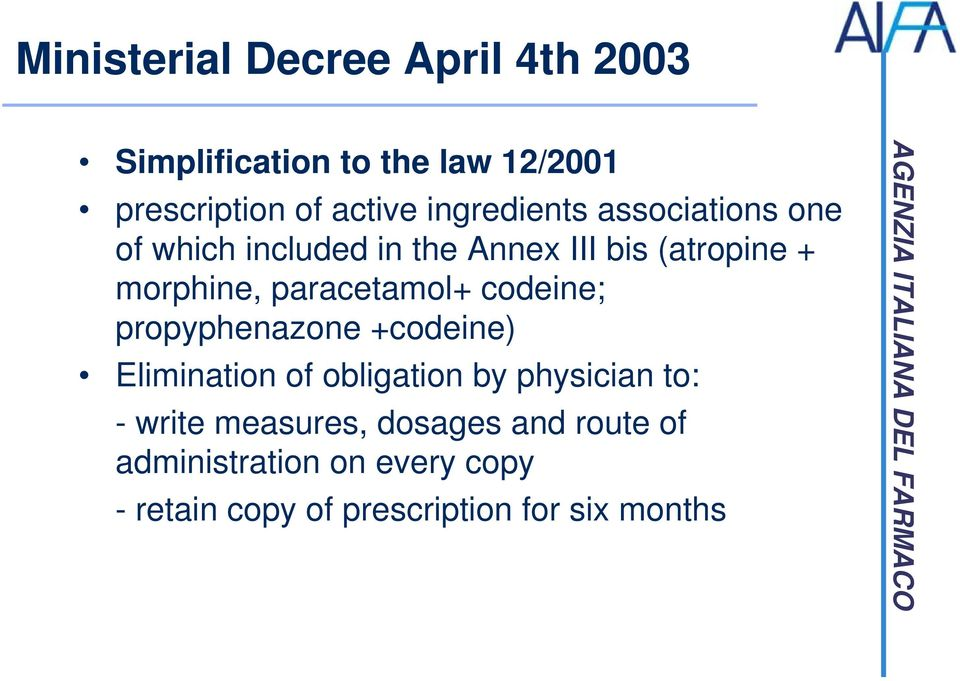 paracetamol+ codeine; propyphenazone +codeine) Elimination of obligation by physician to: -