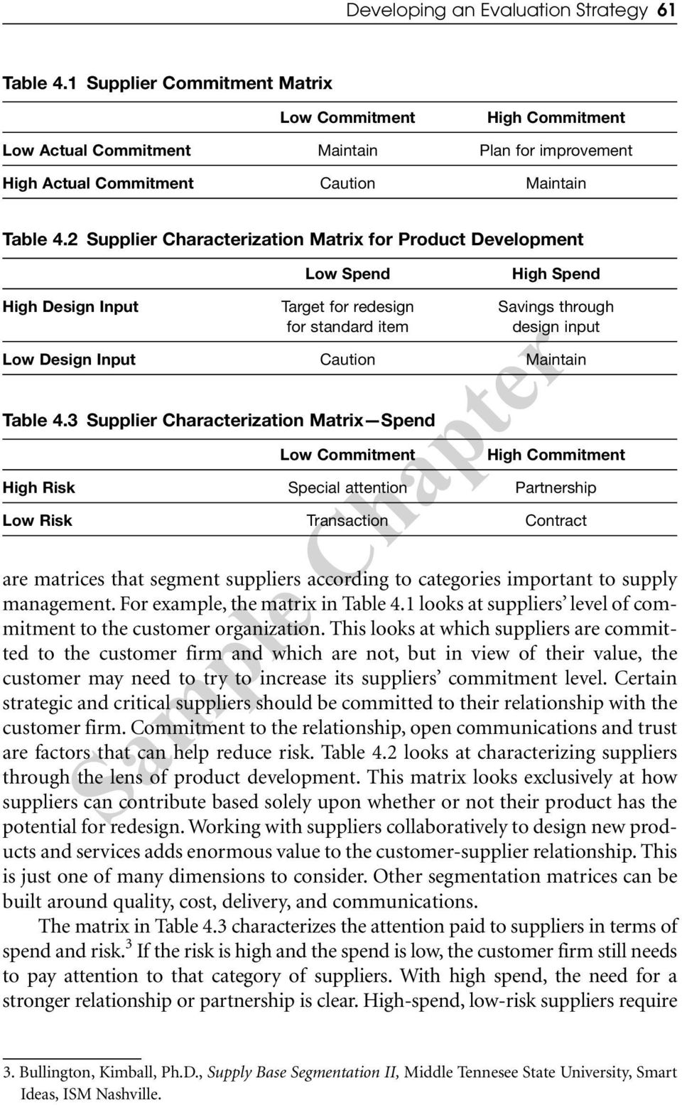 2 Supplier Characterization Matrix for Product Development Low Spend High Spend High Design Input Target for redesign Savings through for standard item design input Low Design Input Caution Maintain