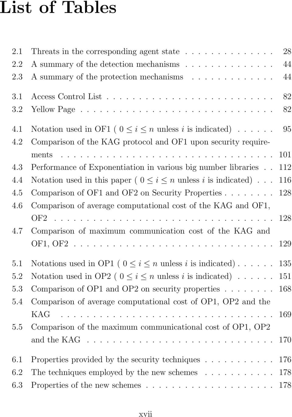 2 Comparison of the KAG protocol and OF1 upon security requirements................................. 101 4.3 Performance of Exponentiation in various big number libraries.. 112 4.