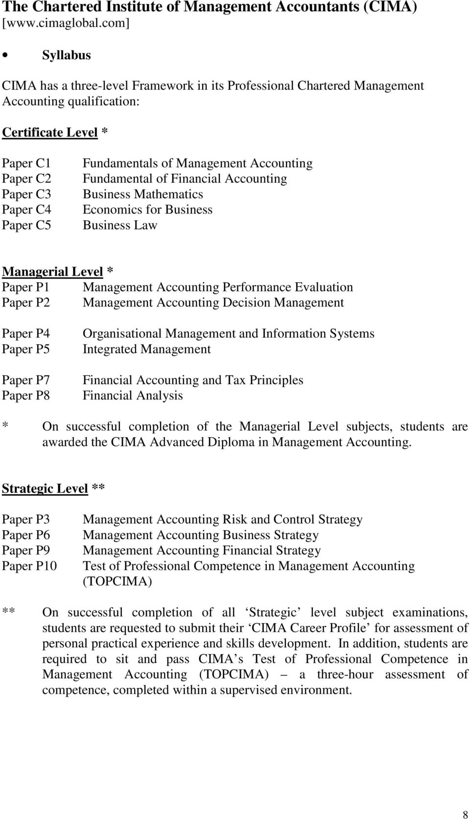 Management Accounting Fundamental of Financial Accounting Business Mathematics Economics for Business Business Law Managerial Level * Paper P1 Management Accounting Performance Evaluation Paper P2