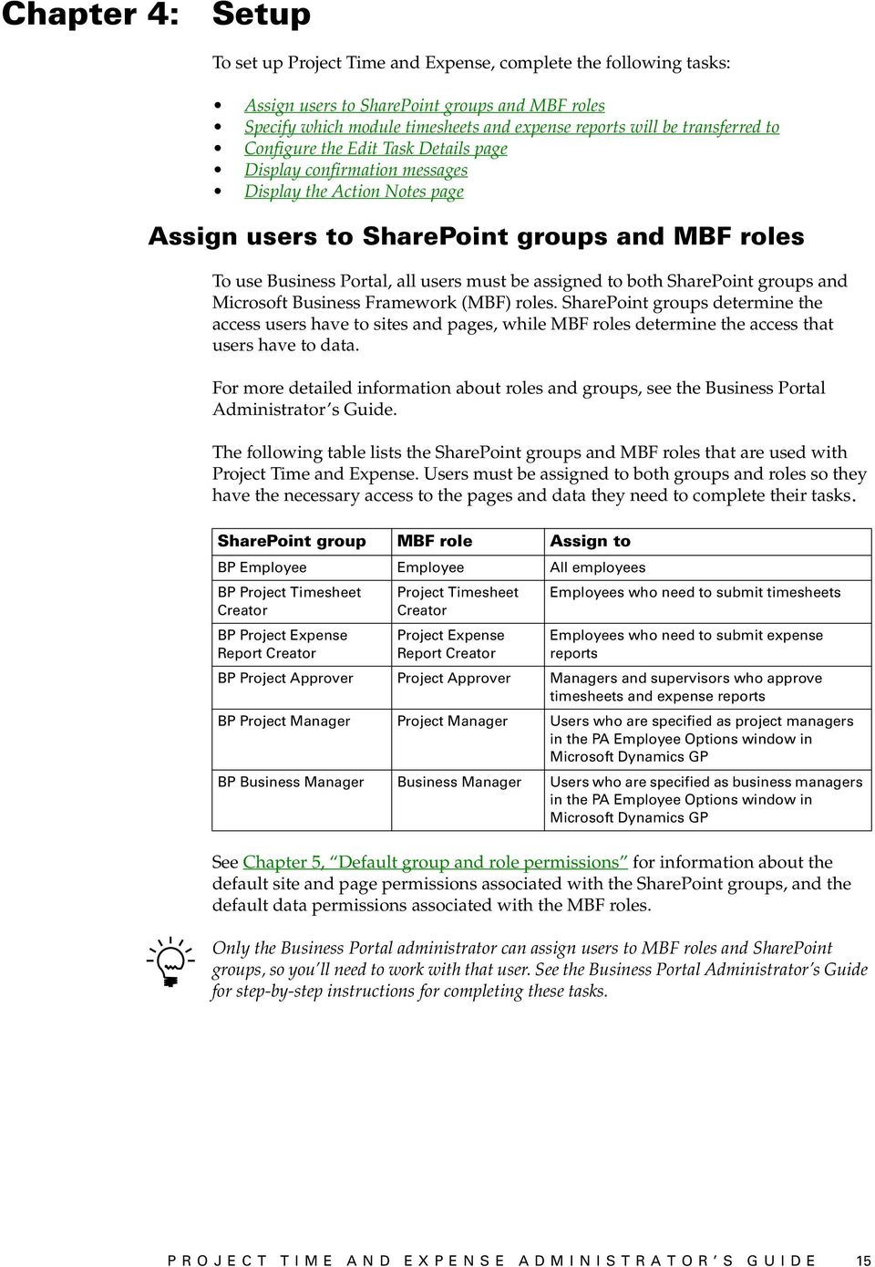 be assigned to both SharePoint groups and Microsoft Business Framework (MBF) roles.