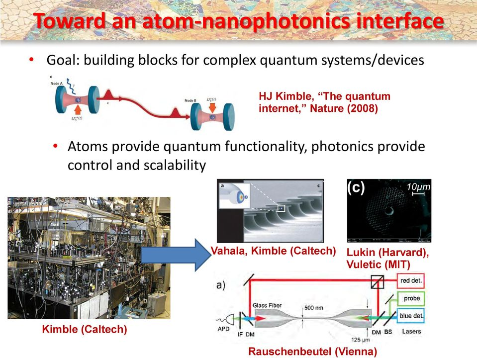 Nature (2008) Atoms provide quantum functionality, photonics provide control
