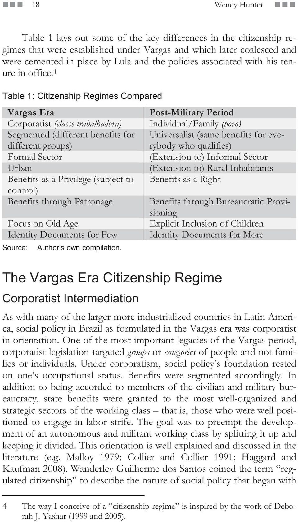 4 Table 1: Citizenship Regimes Compared Vargas Era Post-Military Period Corporatist (classe trabalhadora) Individual/Family (povo) Segmented (different benefits for different groups) Universalist