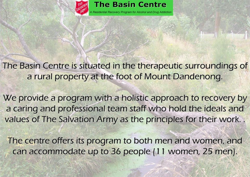 We provide a program with a holistic approach to recovery by a caring and professional team staff who
