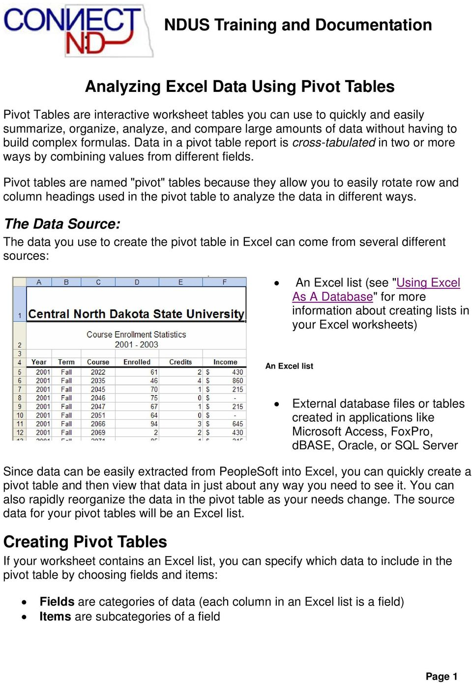 "Pivot tables are named ""pivot"" tables because they allow you to easily rotate row and column headings used in the pivot table to analyze the data in different ways."