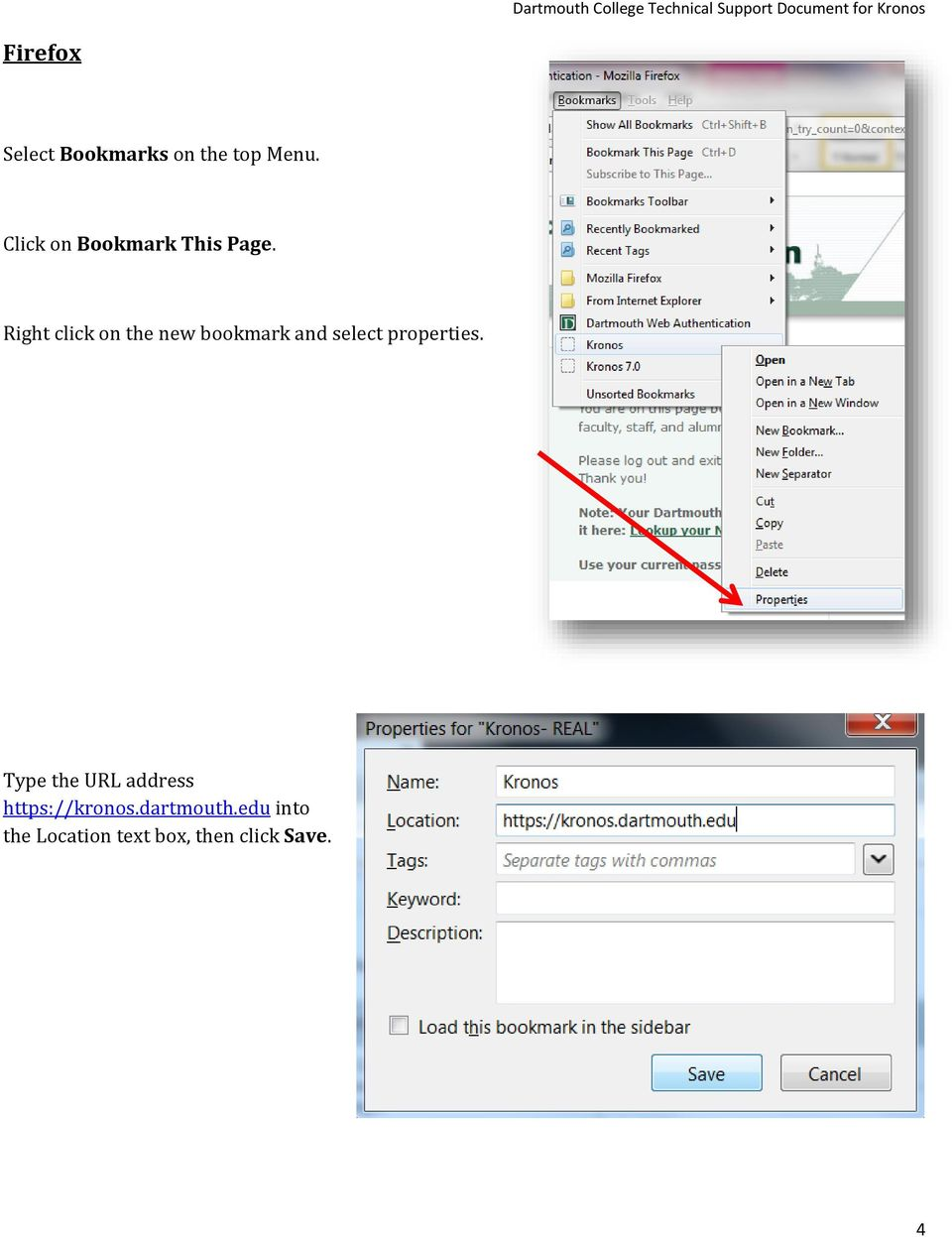 Right click on the new bookmark and select properties.