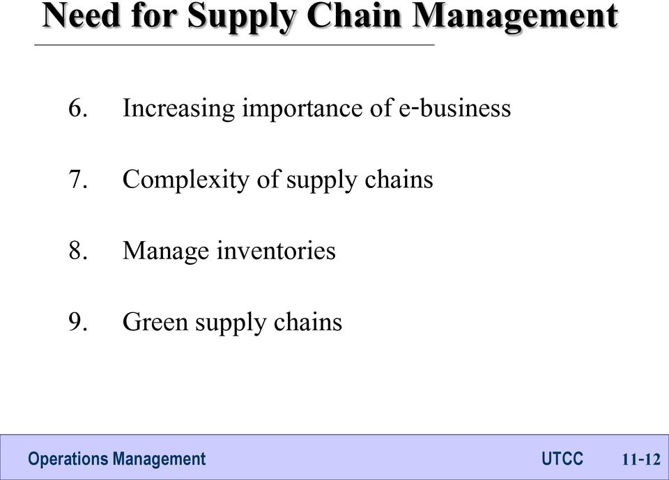 Complexity of supply chains 8.