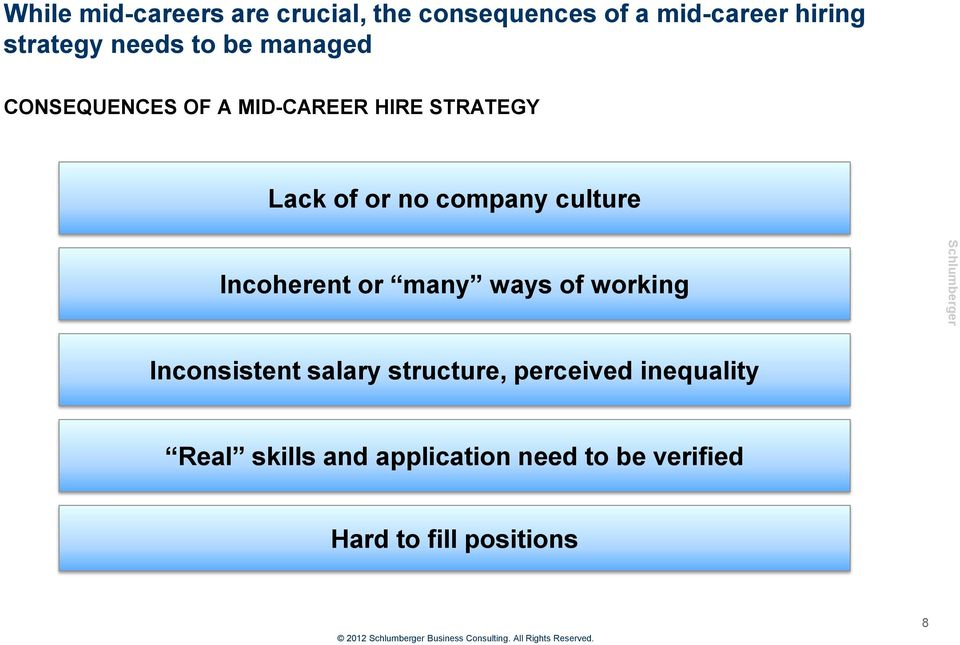 company culture Incoherent or many ways of working Inconsistent salary structure,