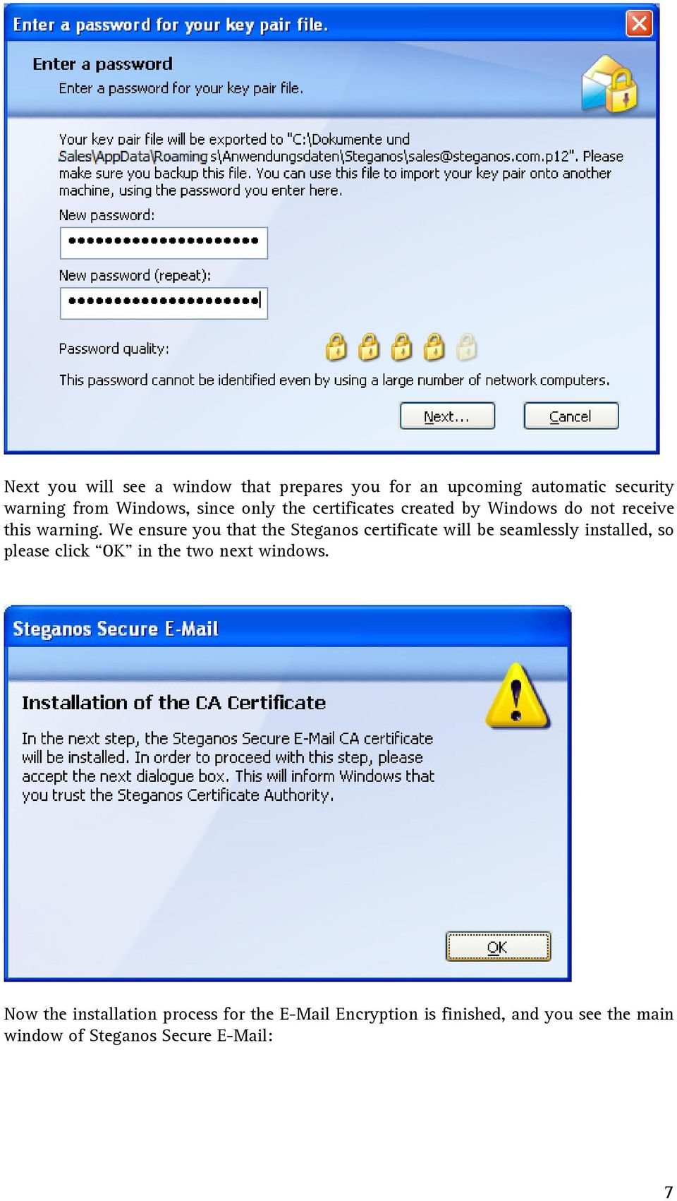 We ensure you that the Steganos certificate will be seamlessly installed, so please click OK in the two