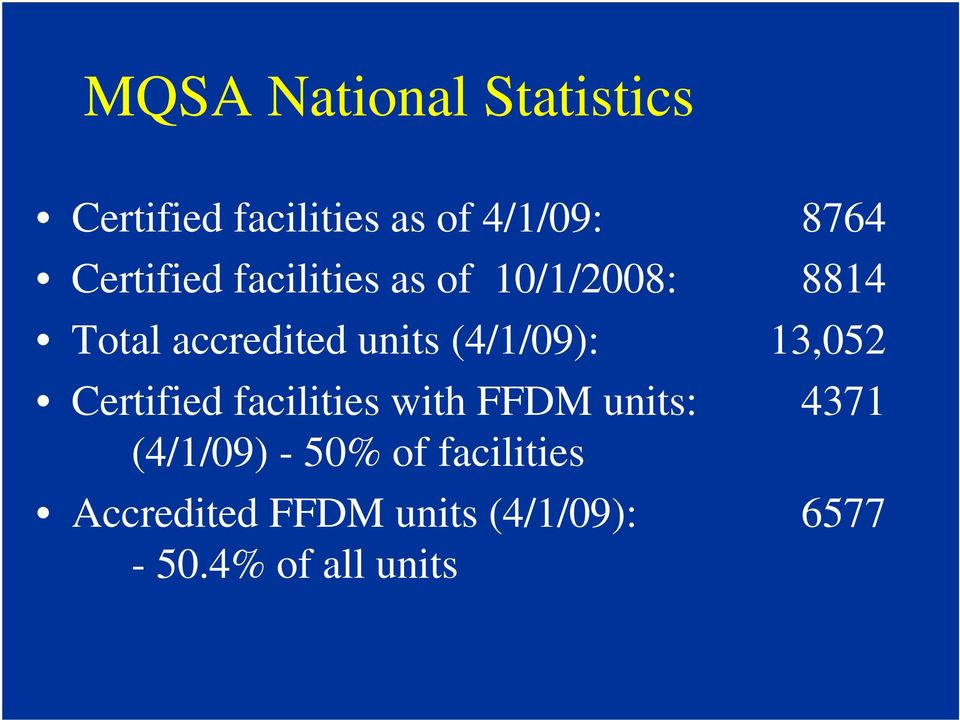 (4/1/09): 13,052 Certified facilities with FFDM units: 4371 (4/1/09)