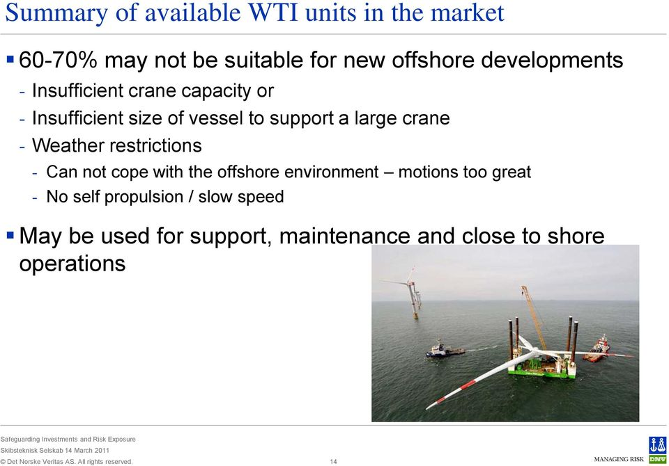 crane - Weather restrictions - Can not cope with the offshore environment motions too great -