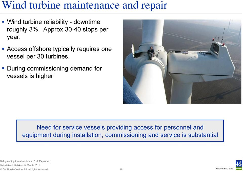 Access offshore typically requires one vessel per 30 turbines.