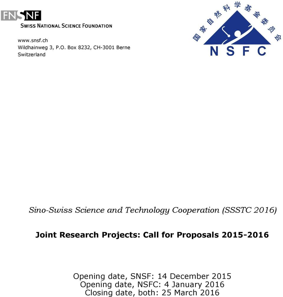 Cooperation (SSSTC 2016) Joint Research Projects: Call for Proposals