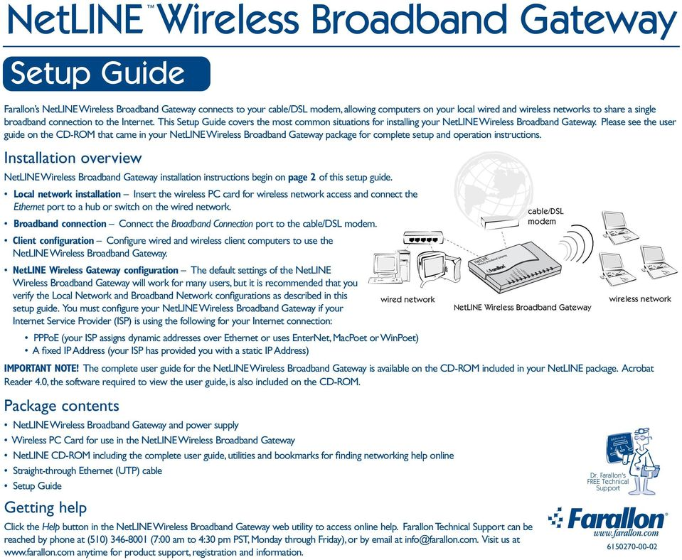 Installation overview NetLINE installation instructions begin on page 2 of this setup guide.