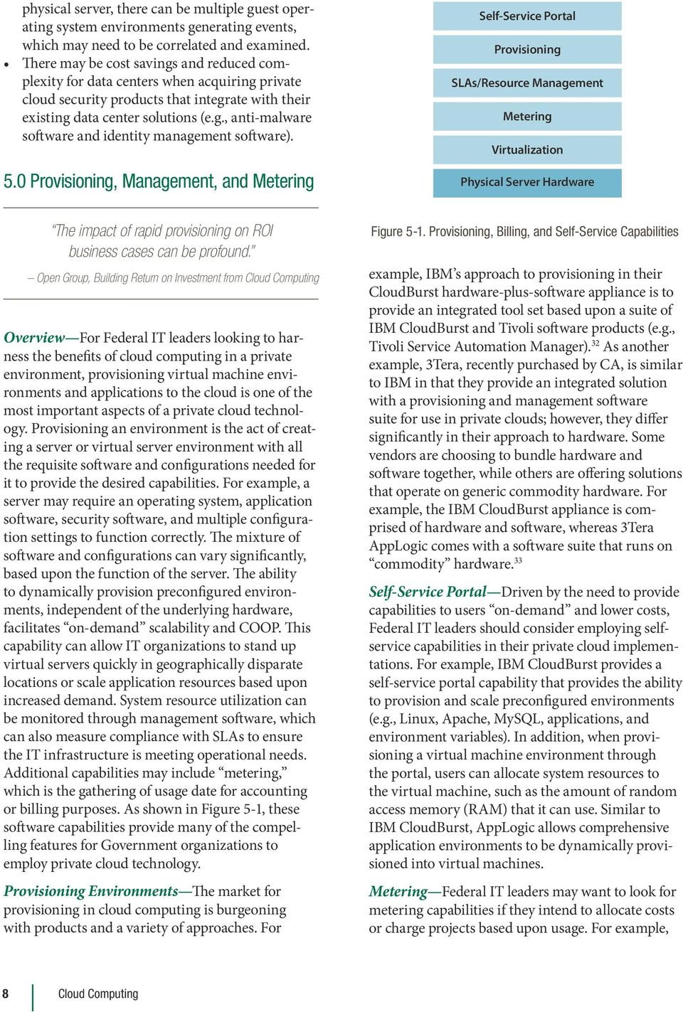 5.0 Provisioning, Management, and Metering Self-Service Portal Provisioning SLAs/Resource Management Metering Virtualization Physical Server Hardware The impact of rapid provisioning on ROI business