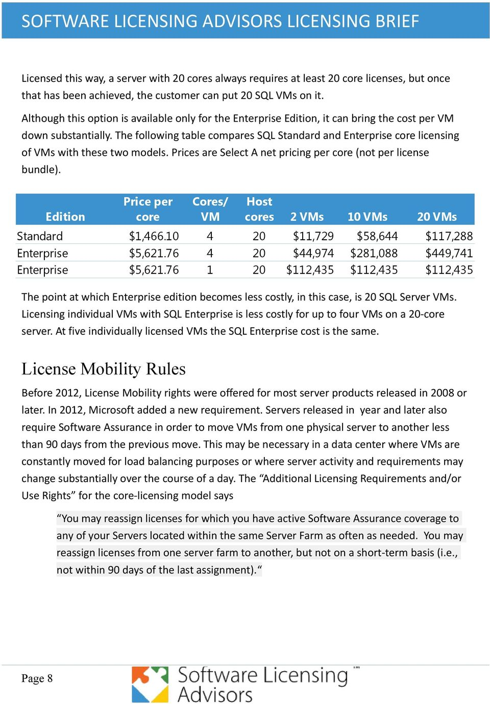 The following table compares SQL Standard and Enterprise core licensing of VMs with these two models. Prices are Select A net pricing per core (not per license bundle).