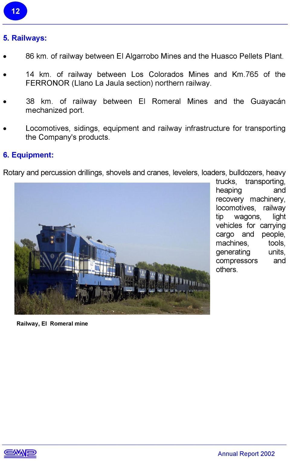 Locomotives, sidings, equipment and railway infrastructure for transporting the Company's products. 6.