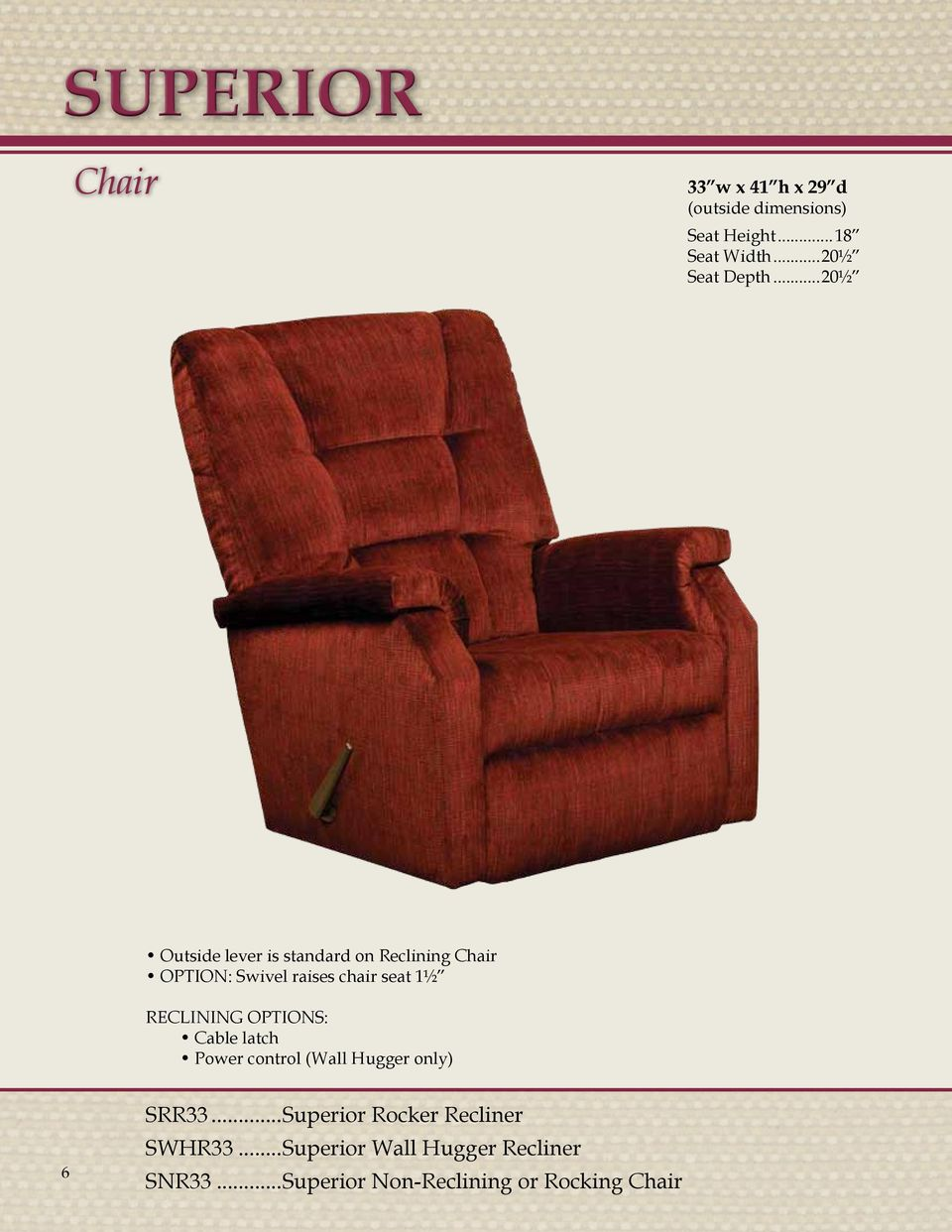 seat 1½ RECLINING OPTIONS: Cable latch Power control (Wall Hugger only) 6 SRR33.