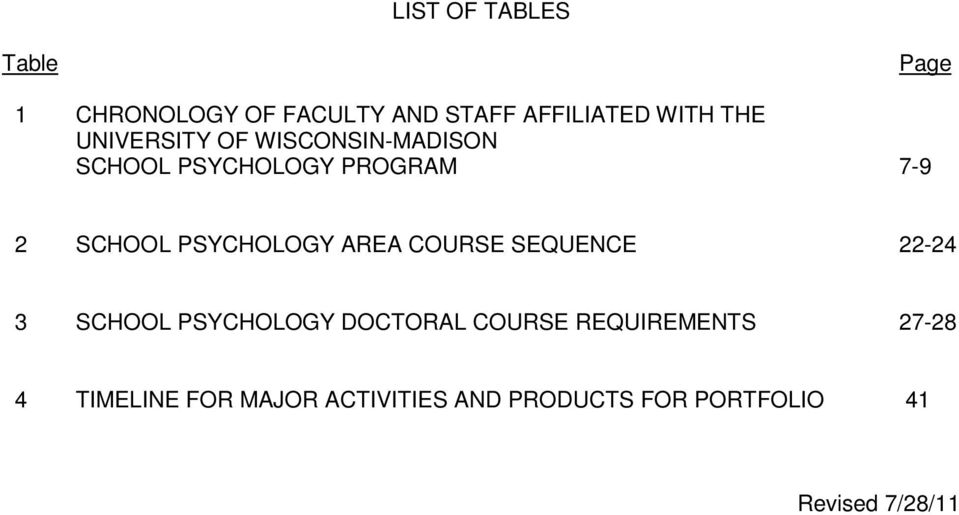 PSYCHOLOGY AREA COURSE SEQUENCE 22-24 3 SCHOOL PSYCHOLOGY DOCTORAL COURSE