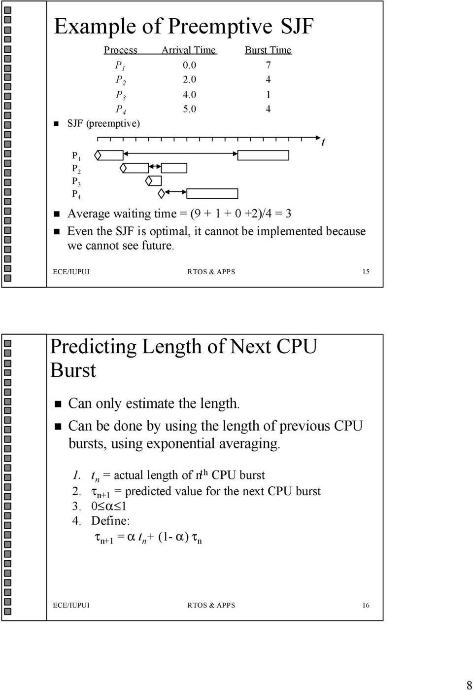 see future. t ECE/IUPUI RTOS & APPS 15 Predicting Length of Next CPU Burst Can only estimate the length.