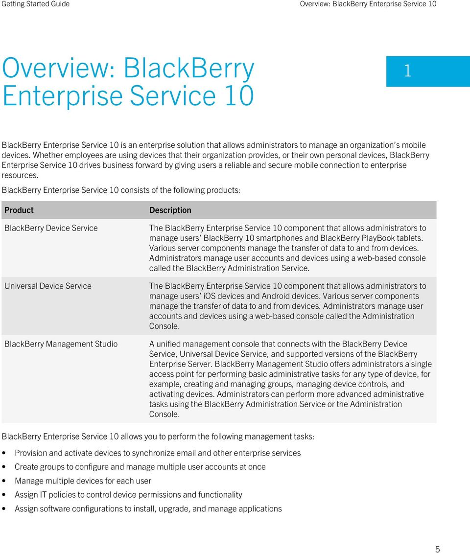 Whether employees are using devices that their organization provides, or their own personal devices, BlackBerry Enterprise Service 10 drives business forward by giving users a reliable and secure