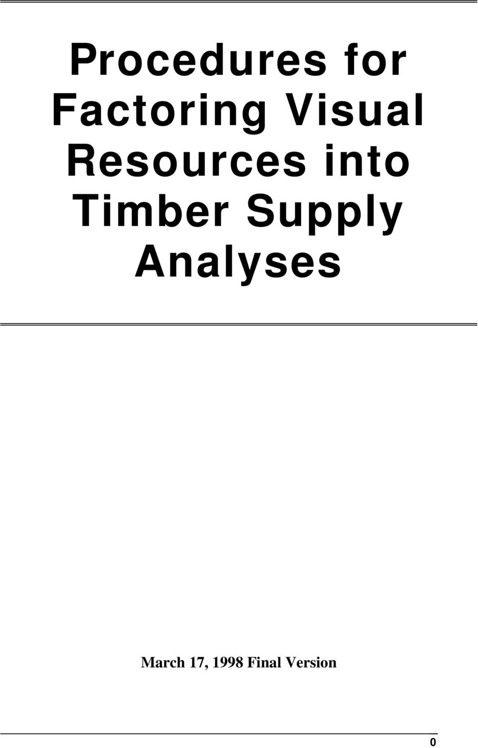 Timber Supply Analyses