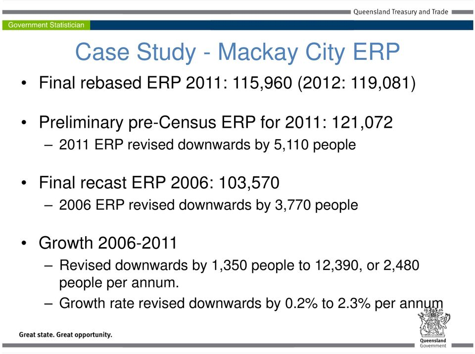 2006: 103,570 2006 ERP revised downwards by 3,770 people Growth 2006-2011 Revised downwards by