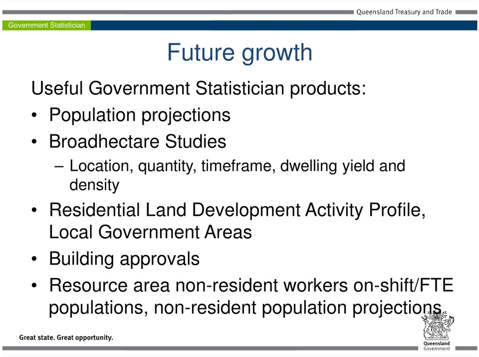 Residential Land Development Activity Profile, Local Government Areas Building