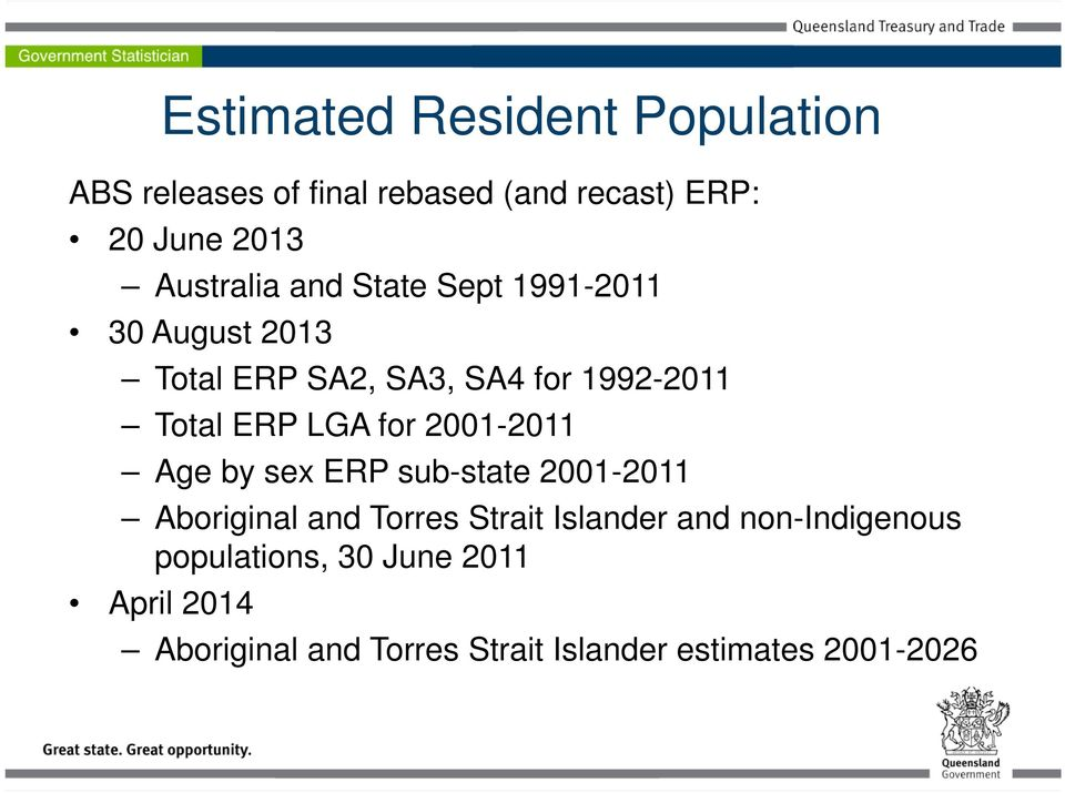 LGA for 2001-2011 Age by sex ERP sub-state 2001-2011 Aboriginal and Torres Strait Islander and