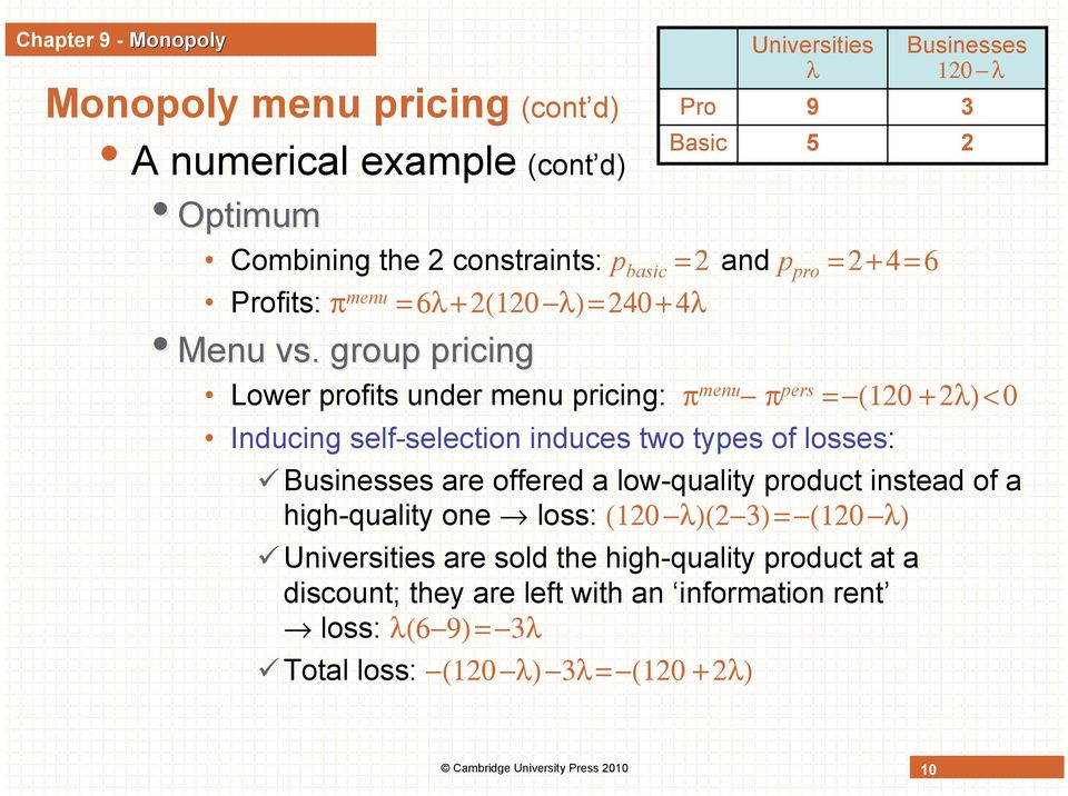 group pricing Lower profits under menu pricing: π menu π pers = (120 + 2λ) < 0 Inducing self-selection induces two types of losses: Businesses are offered a