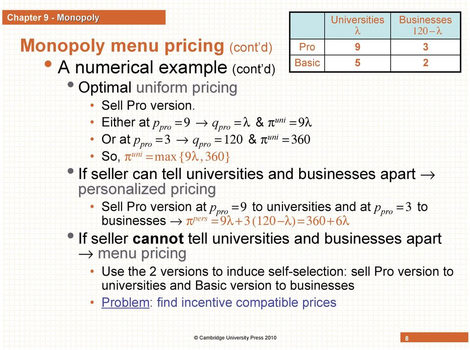 personalized pricing Sell Pro version at p pro = 9 to universities and at p pro = 3 to businesses π pers = 9λ + 3 (120 λ) = 360 + 6λ If seller cannot tell universities and