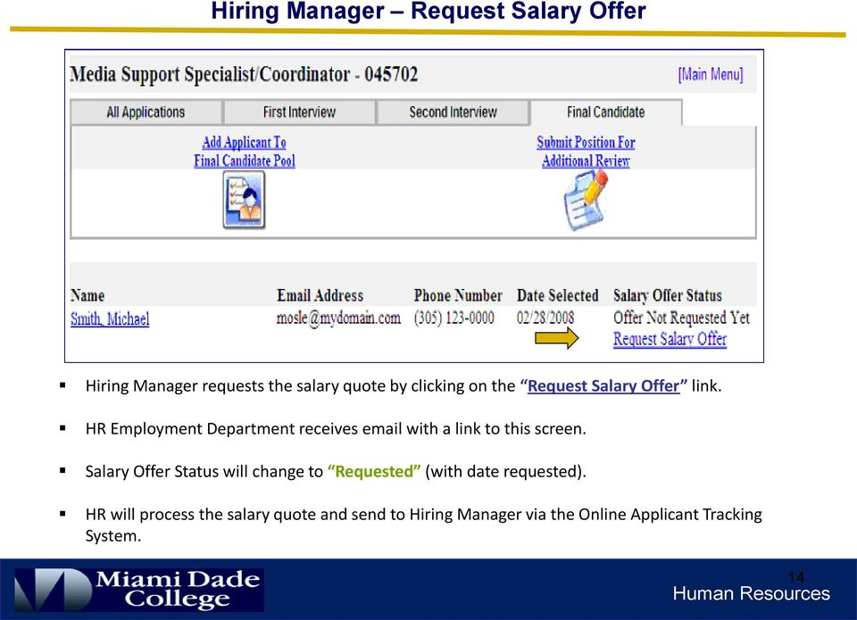 HR Employment Department receives email with a link to this screen.