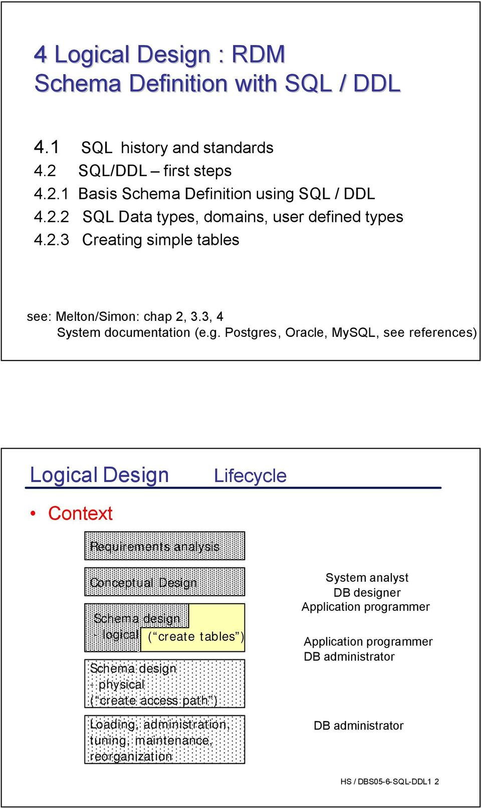 simple tables see: Melton/Simon: chap 2, 3.3, 4 System documentation (e.g.