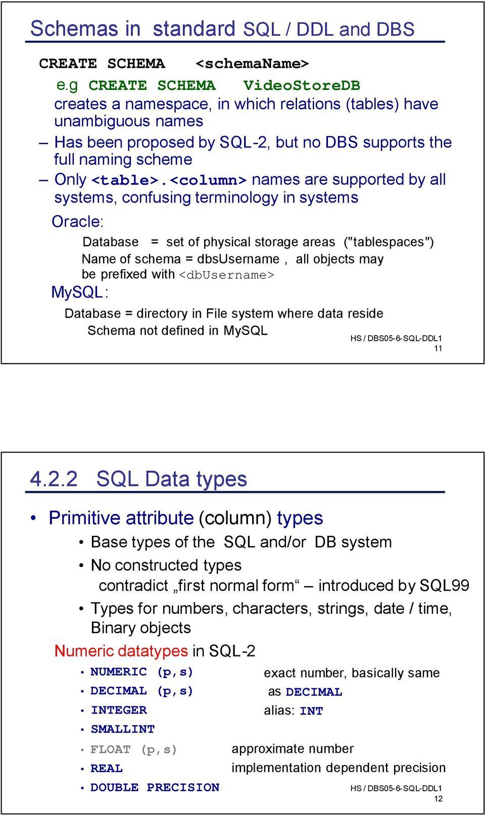 "<column> names are supported by all systems, confusing terminology in systems Oracle: Database = set of physical storage areas (""tablespaces"") Name of schema = dbsusername, all objects may be"
