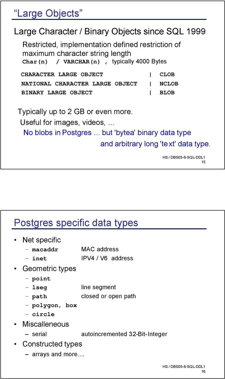 Useful for images, videos, No blobs in Postgres... but 'bytea' binary data type and arbitrary long 'text' data type.