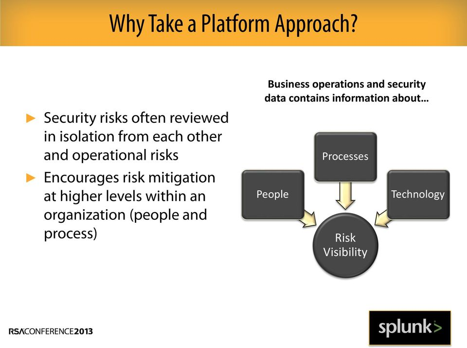 risks Encourages risk mitigation at higher levels within an organization
