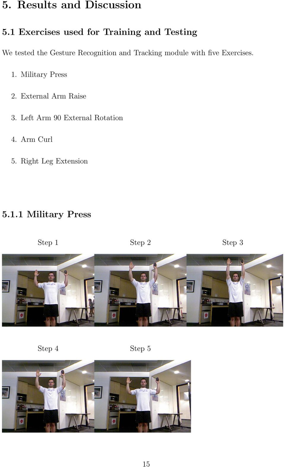 and Tracking module with five Exercises. 1. Military Press 2.
